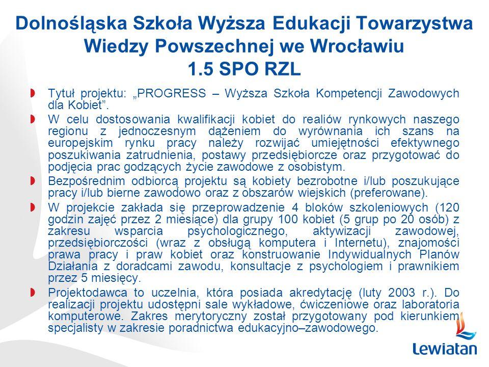 Dolnośląska Szkoła Wyższa Edukacji Towarzystwa Wiedzy Powszechnej we Wrocławiu 1.5 SPO RZL