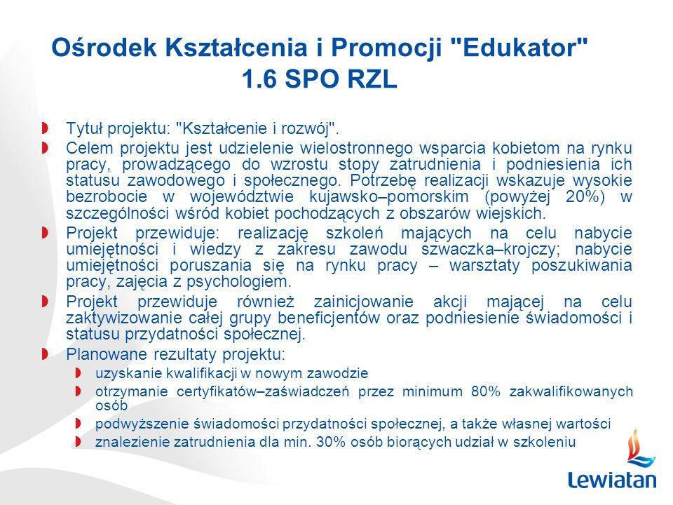 Ośrodek Kształcenia i Promocji Edukator 1.6 SPO RZL