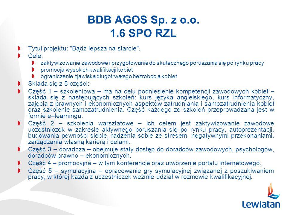 BDB AGOS Sp. z o.o. 1.6 SPO RZL Tytuł projektu: Bądź lepsza na starcie . Cele: