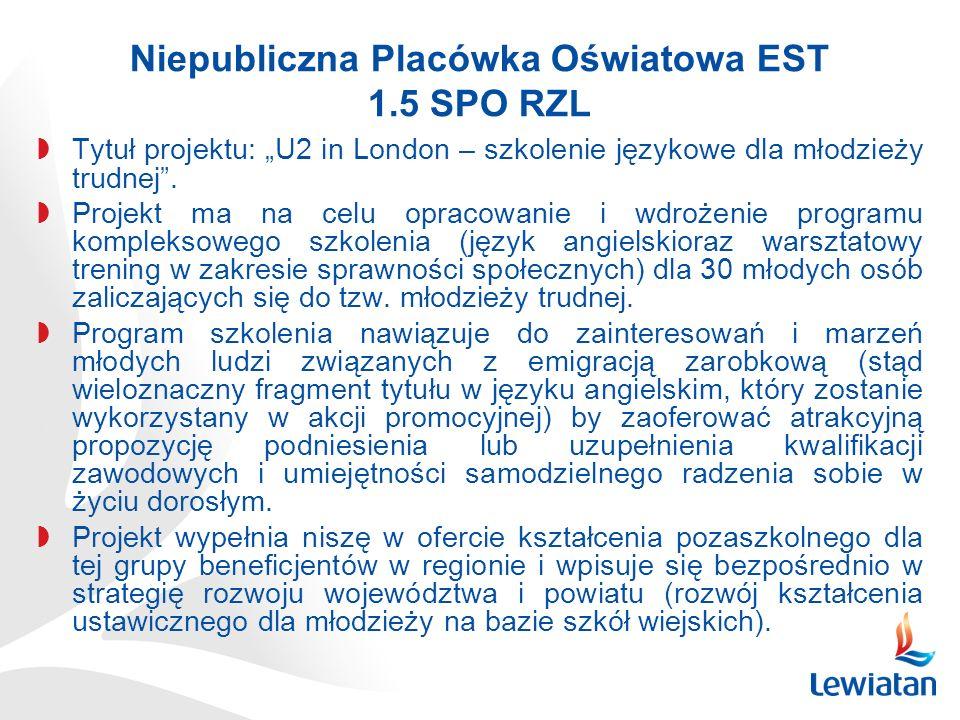 Niepubliczna Placówka Oświatowa EST 1.5 SPO RZL