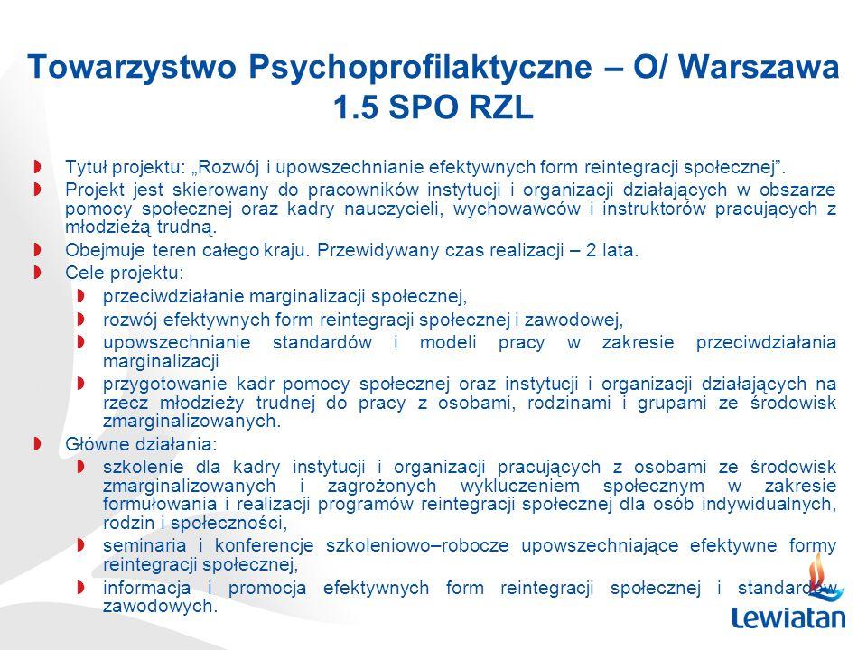 Towarzystwo Psychoprofilaktyczne – O/ Warszawa 1.5 SPO RZL