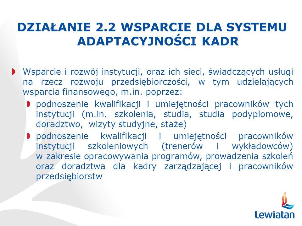 DZIAŁANIE 2.2 WSPARCIE DLA SYSTEMU ADAPTACYJNOŚCI KADR