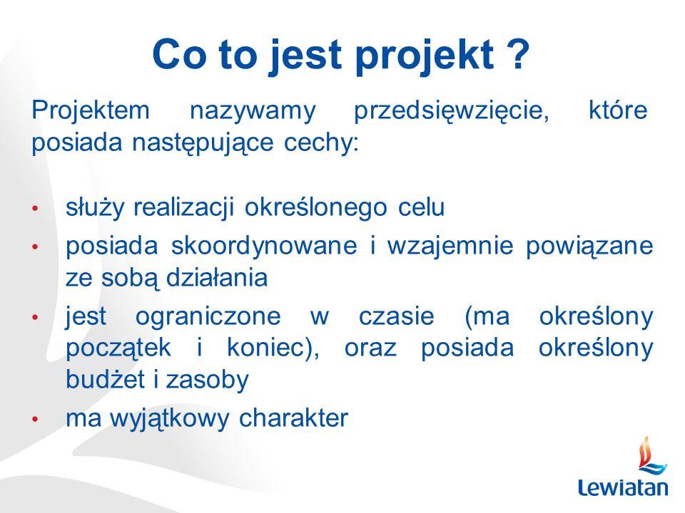 Co to jest projekt Projektem nazywamy przedsięwzięcie, które posiada następujące cechy: służy realizacji określonego celu.