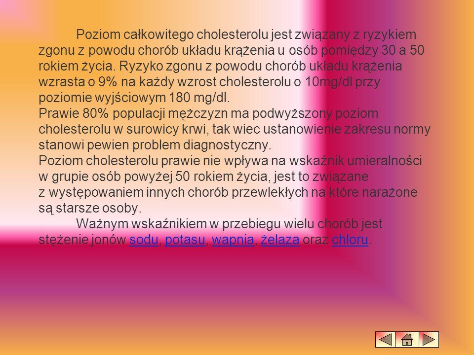 Poziom całkowitego cholesterolu jest związany z ryzykiem zgonu z powodu chorób układu krążenia u osób pomiędzy 30 a 50 rokiem życia.