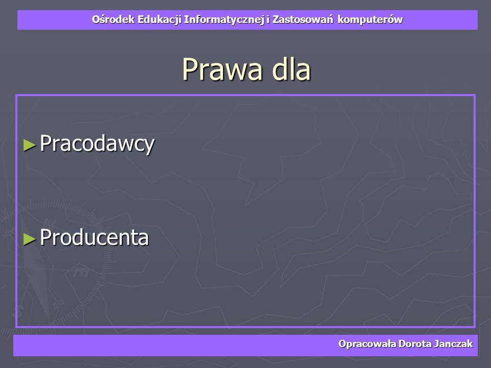 Prawa dla Pracodawcy Producenta Opracowała Dorota Janczak