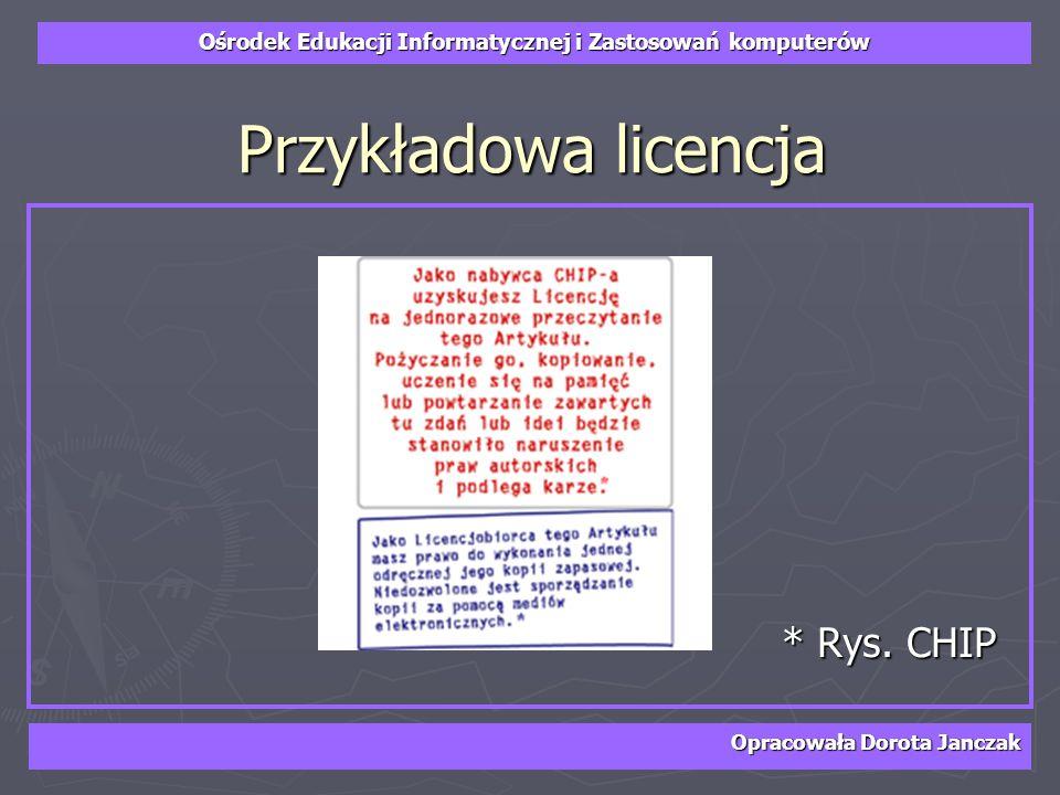Przykładowa licencja * Rys. CHIP Opracowała Dorota Janczak