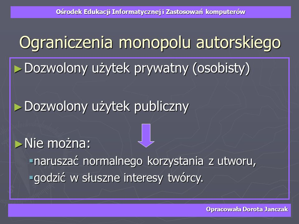 Ograniczenia monopolu autorskiego