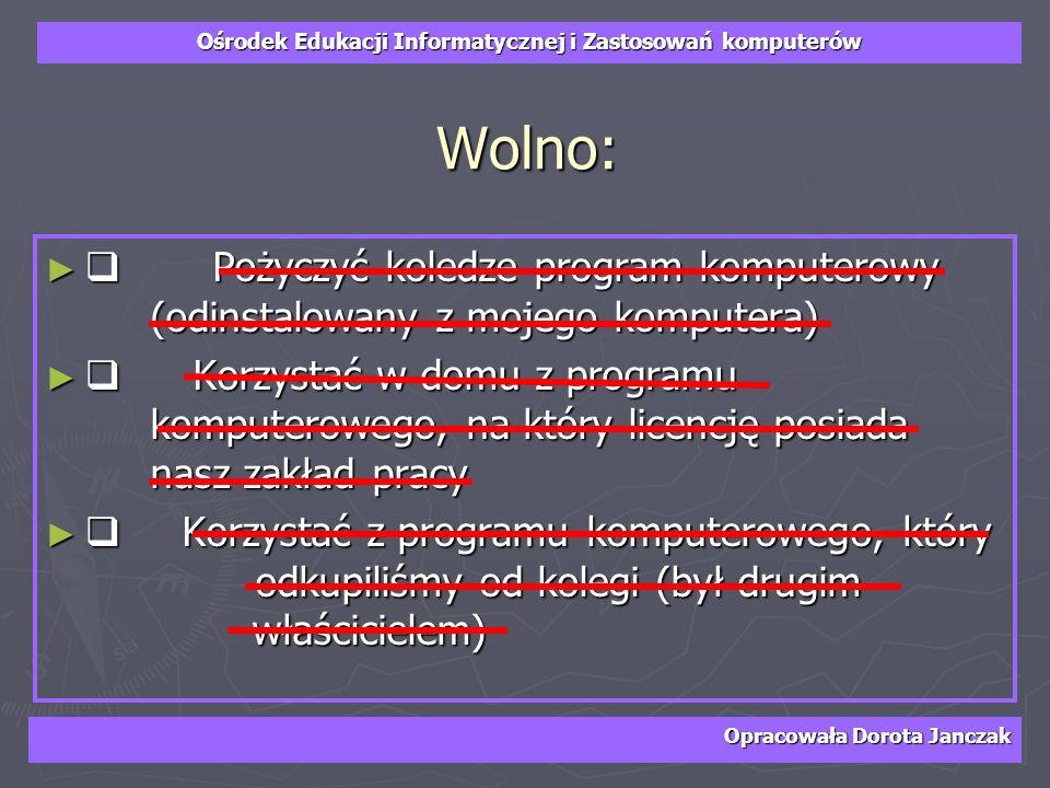 Wolno:q Pożyczyć koledze program komputerowy (odinstalowany z mojego komputera)
