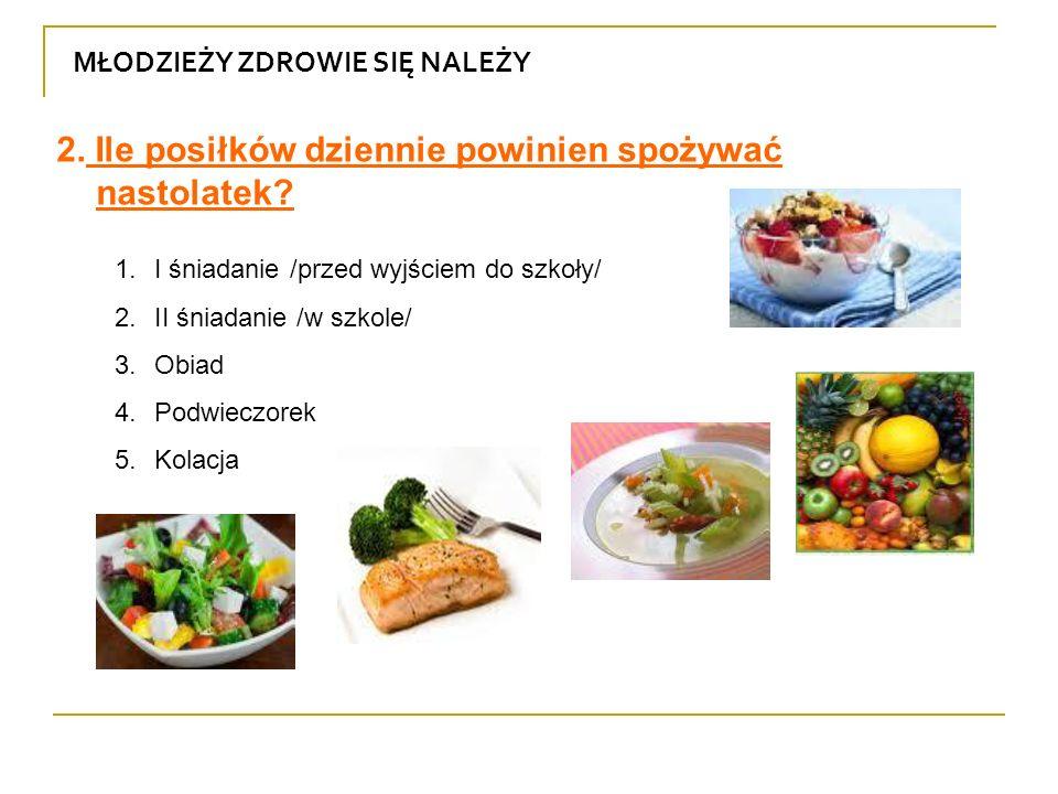 2. Ile posiłków dziennie powinien spożywać nastolatek
