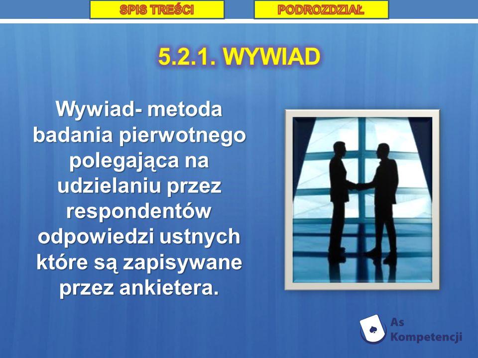 SPIS TREŚCI PODROZDZIAŁ. 5.2.1. WYWIAD.