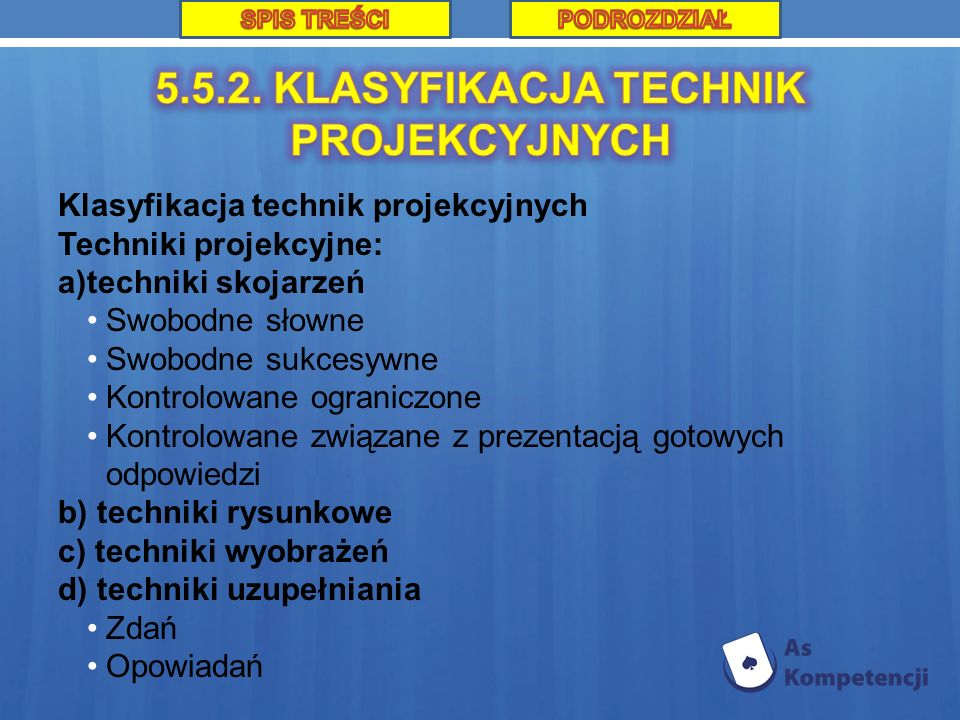 5.5.2. KLASYFIKACJA TECHNIK PROJEKCYJNYCH