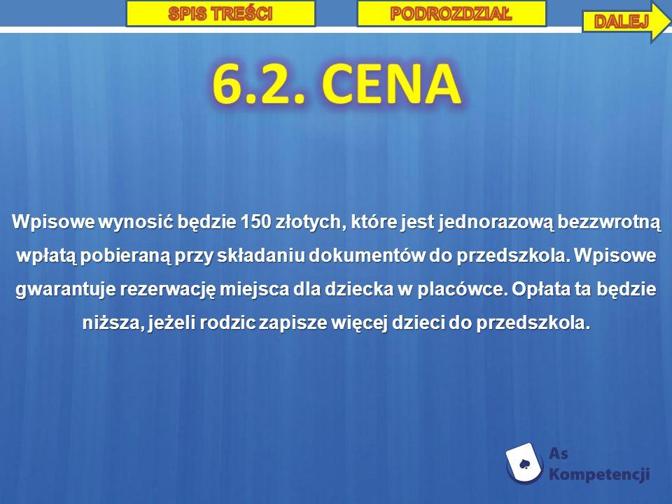 SPIS TREŚCI PODROZDZIAŁ. DALEJ. 6.2. CENA.