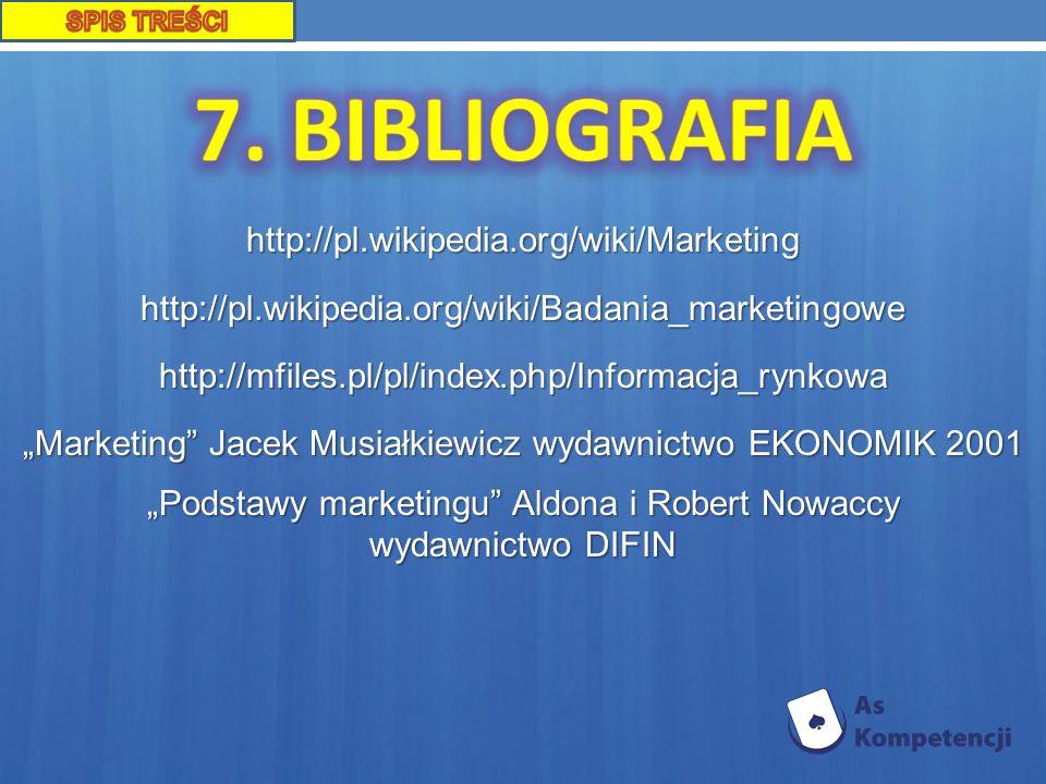 7. BIBLIOGRAFIA http://pl.wikipedia.org/wiki/Marketing