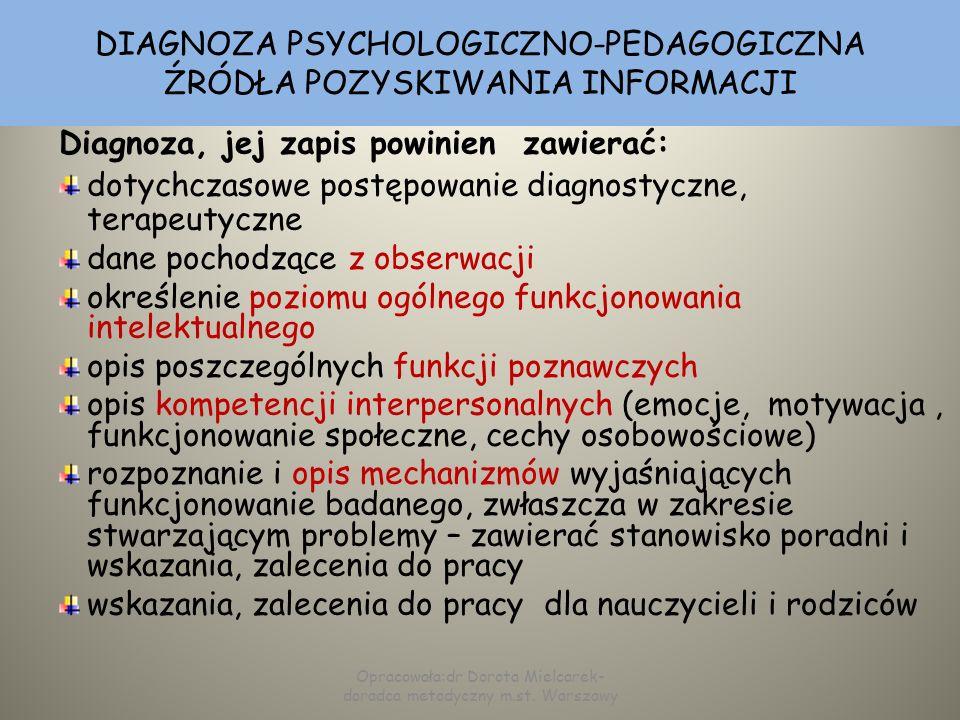 DIAGNOZA PSYCHOLOGICZNO-PEDAGOGICZNA ŹRÓDŁA POZYSKIWANIA INFORMACJI