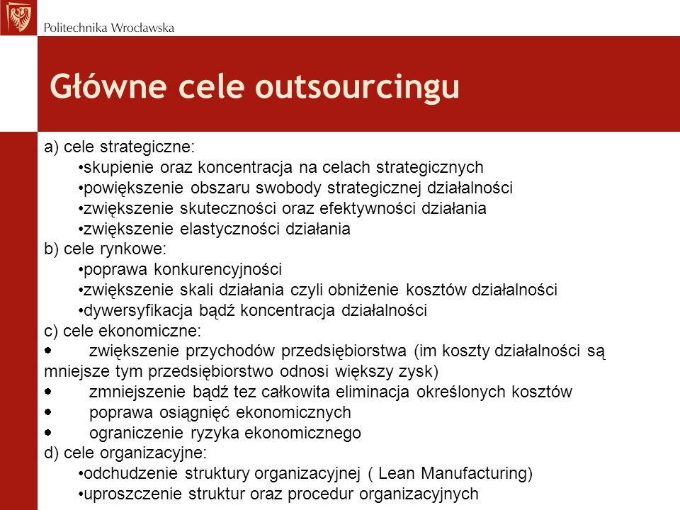 Główne cele outsourcingu