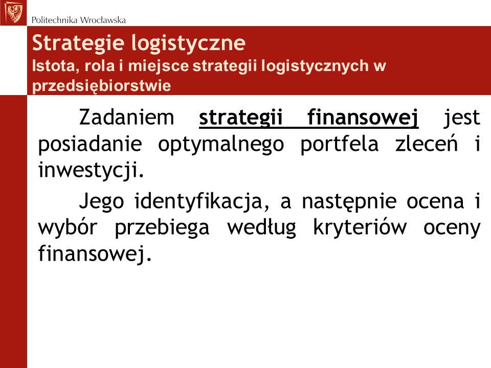 Strategie logistyczne Istota, rola i miejsce strategii logistycznych w przedsiębiorstwie