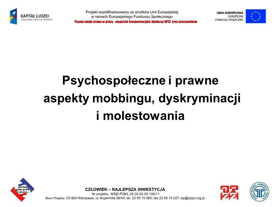 Psychospołeczne i prawne aspekty mobbingu, dyskryminacji