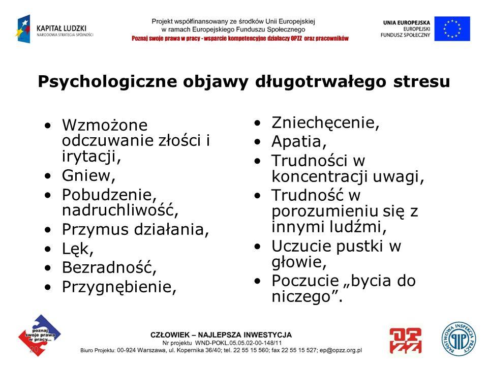 Psychologiczne objawy długotrwałego stresu