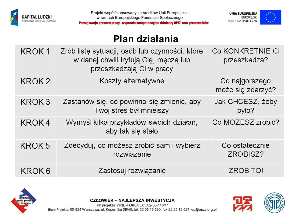 Plan działania KROK 1 KROK 2 KROK 3 KROK 4 KROK 5 KROK 6