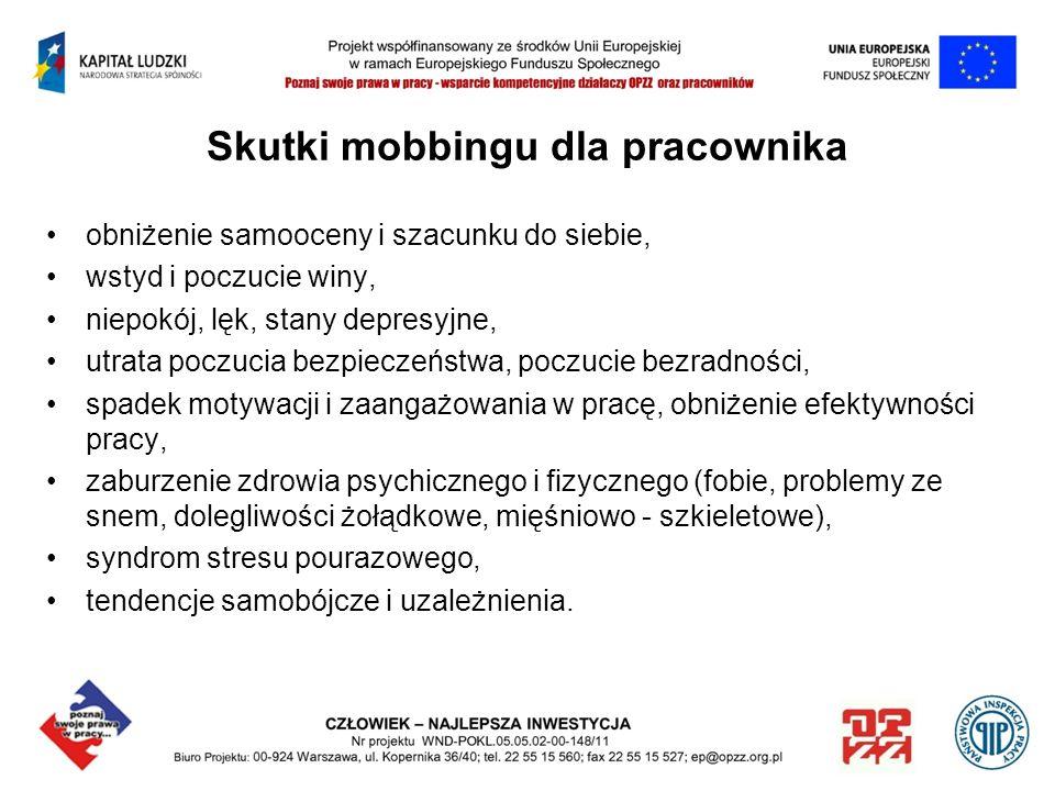 Skutki mobbingu dla pracownika