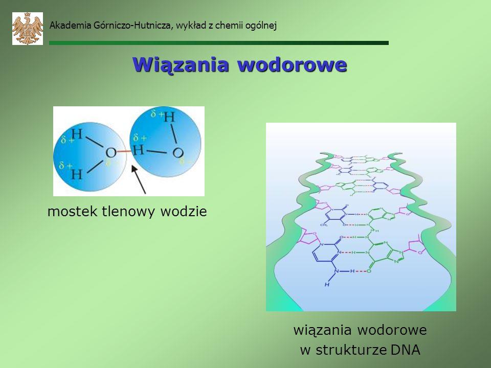 Wiązania wodorowe mostek tlenowy wodzie wiązania wodorowe