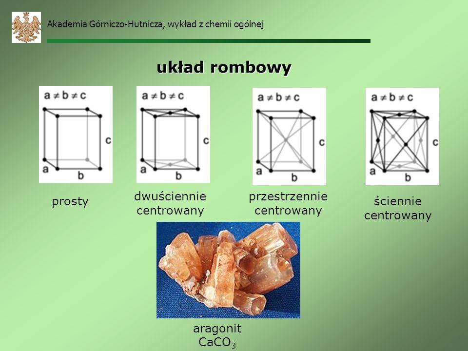 układ rombowy dwuściennie centrowany przestrzennie centrowany prosty