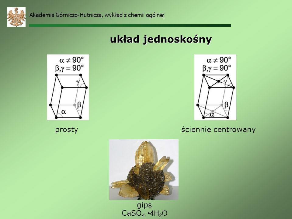 układ jednoskośny prosty ściennie centrowany gips CaSO4 •4H2O
