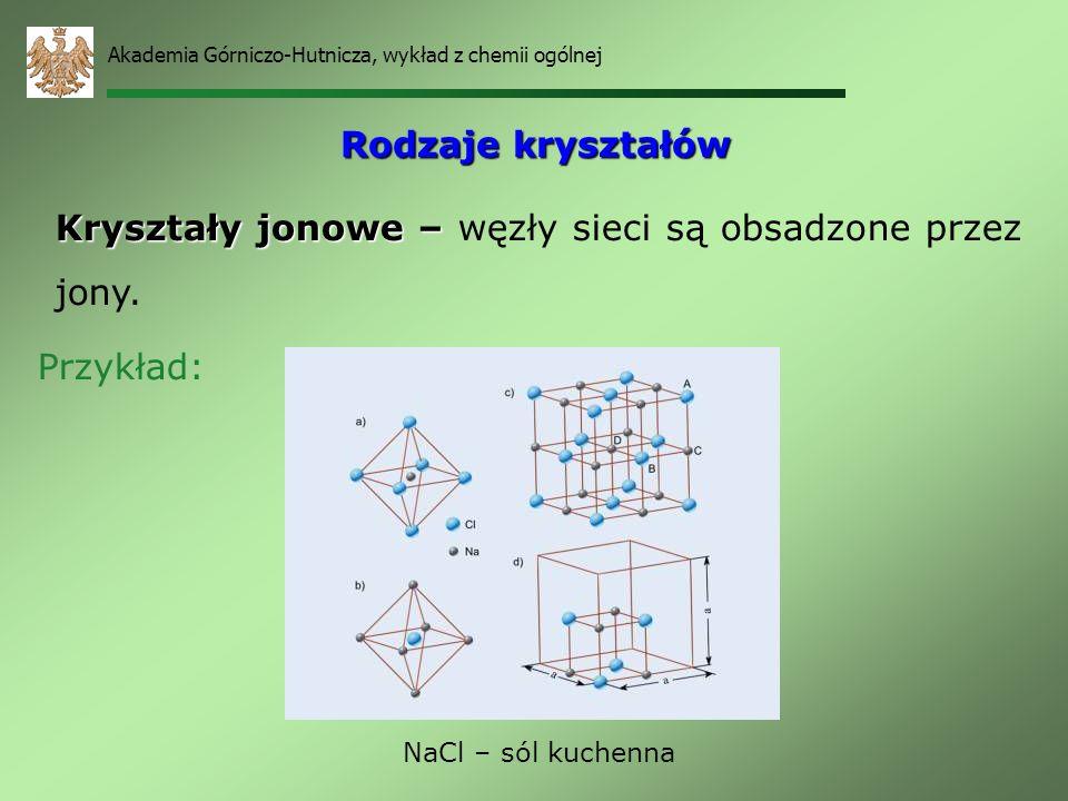 Kryształy jonowe – węzły sieci są obsadzone przez jony.