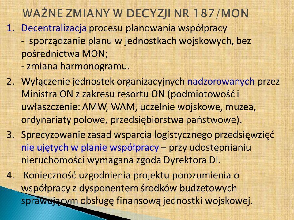 WAŻNE ZMIANY W DECYZJI NR 187/MON