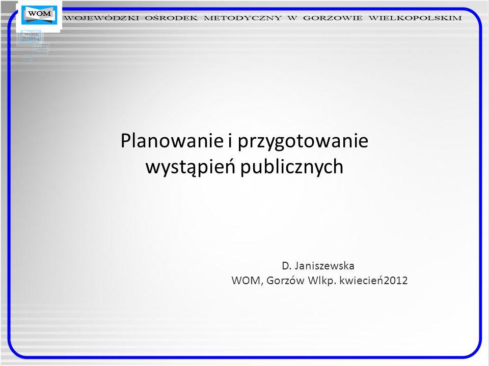 Planowanie i przygotowanie wystąpień publicznych