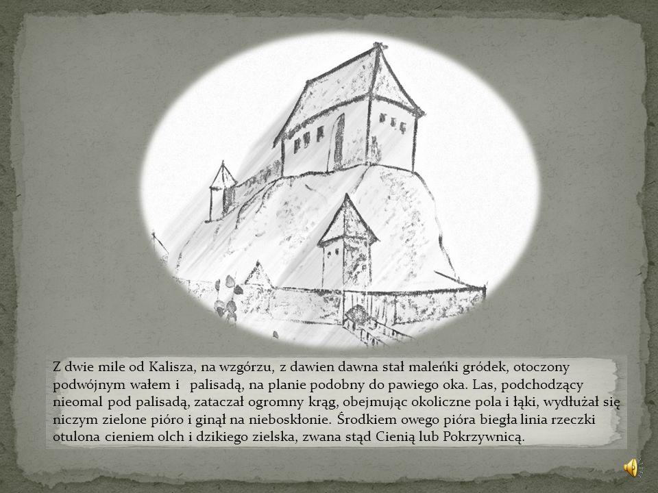 Z dwie mile od Kalisza, na wzgórzu, z dawien dawna stał maleńki gródek, otoczony podwójnym wałem i palisadą, na planie podobny do pawiego oka.