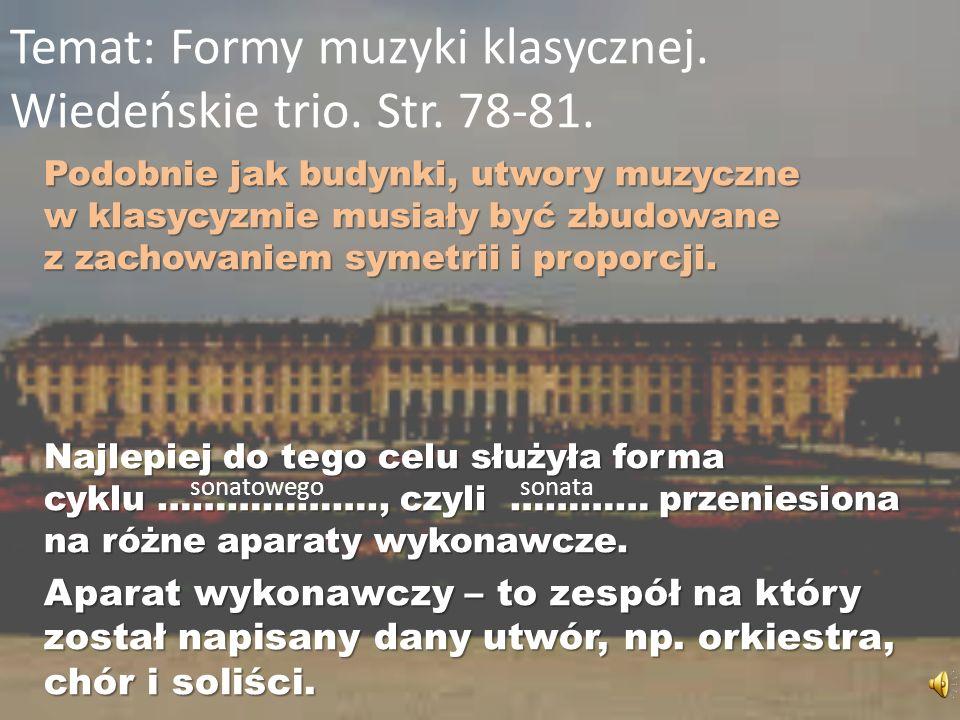 Temat: Formy muzyki klasycznej. Wiedeńskie trio. Str. 78-81.