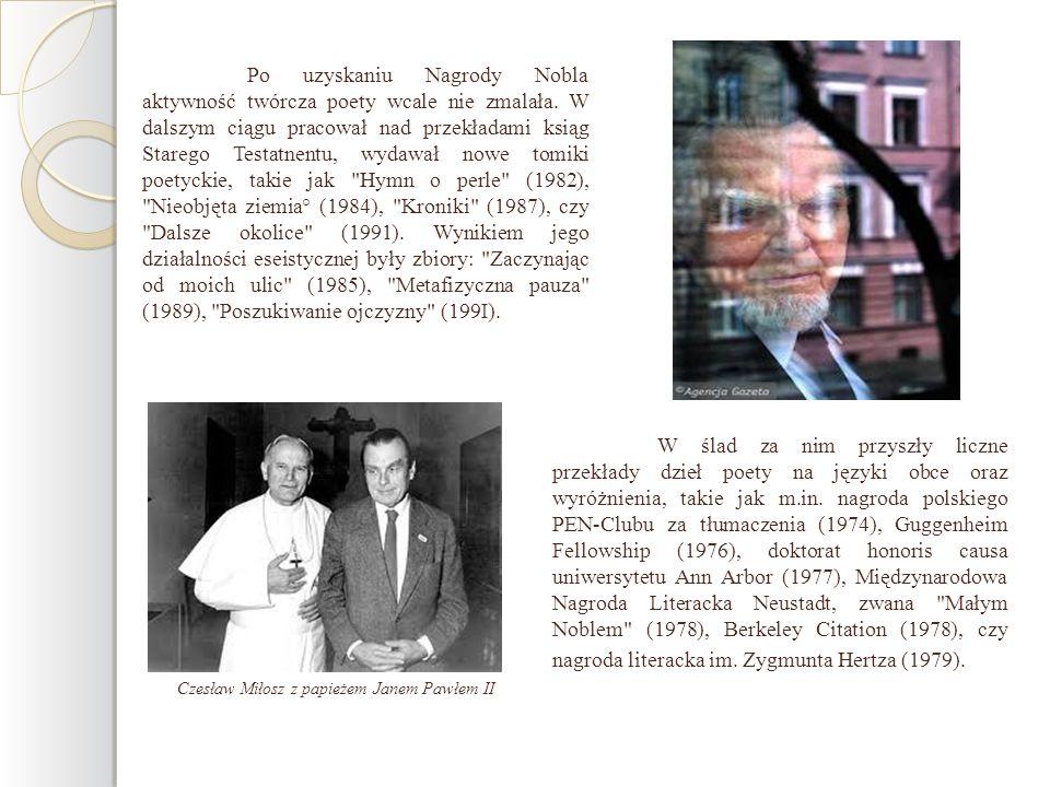 Czesław Miłosz z papieżem Janem Pawłem II