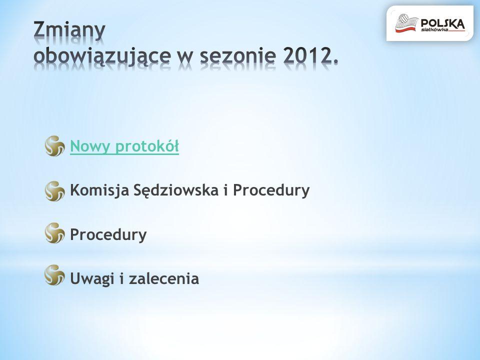Zmiany obowiązujące w sezonie 2012.