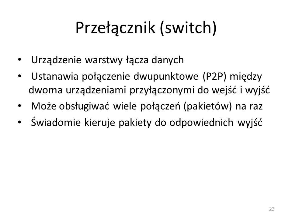 Przełącznik (switch) Urządzenie warstwy łącza danych