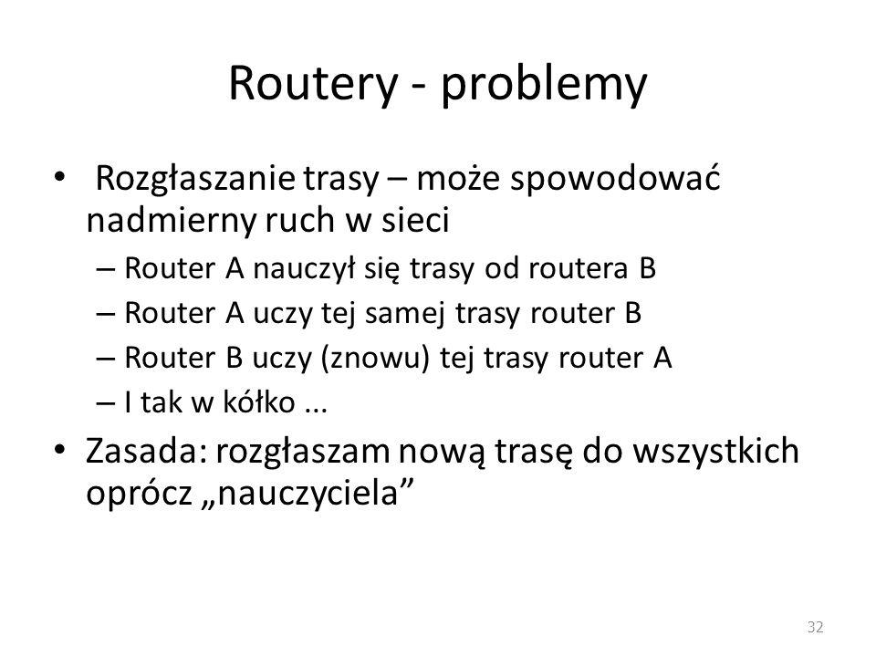 Routery - problemy Rozgłaszanie trasy – może spowodować nadmierny ruch w sieci. Router A nauczył się trasy od routera B.