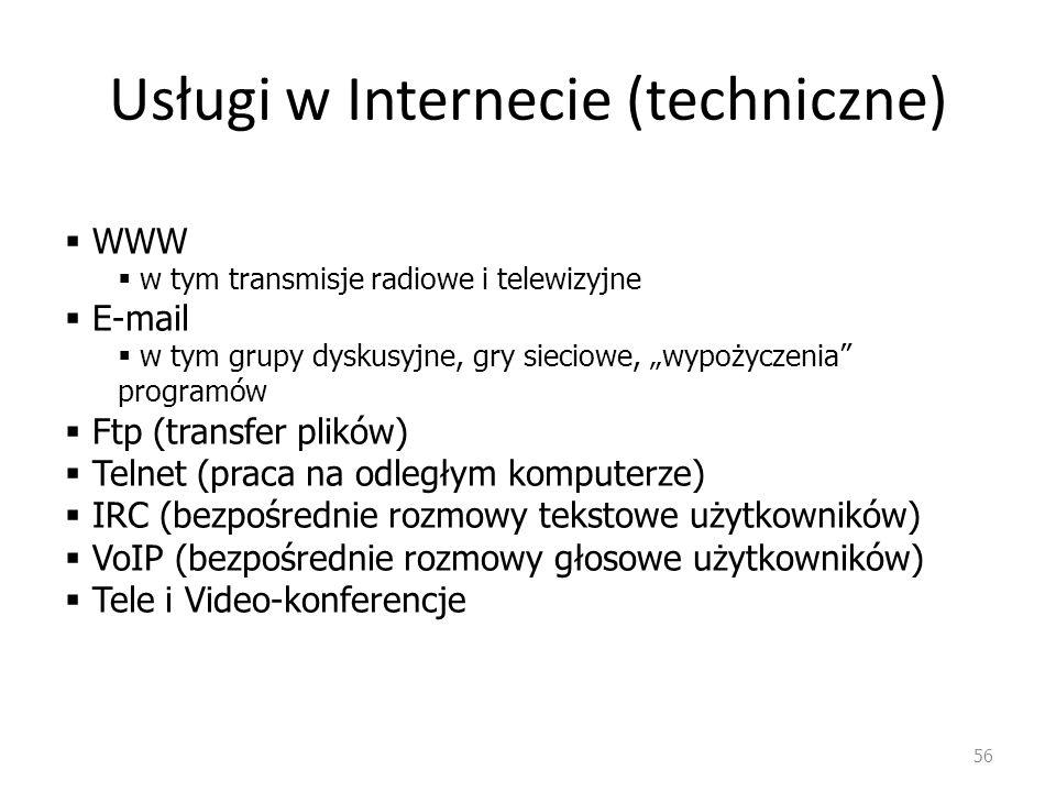 Usługi w Internecie (techniczne)