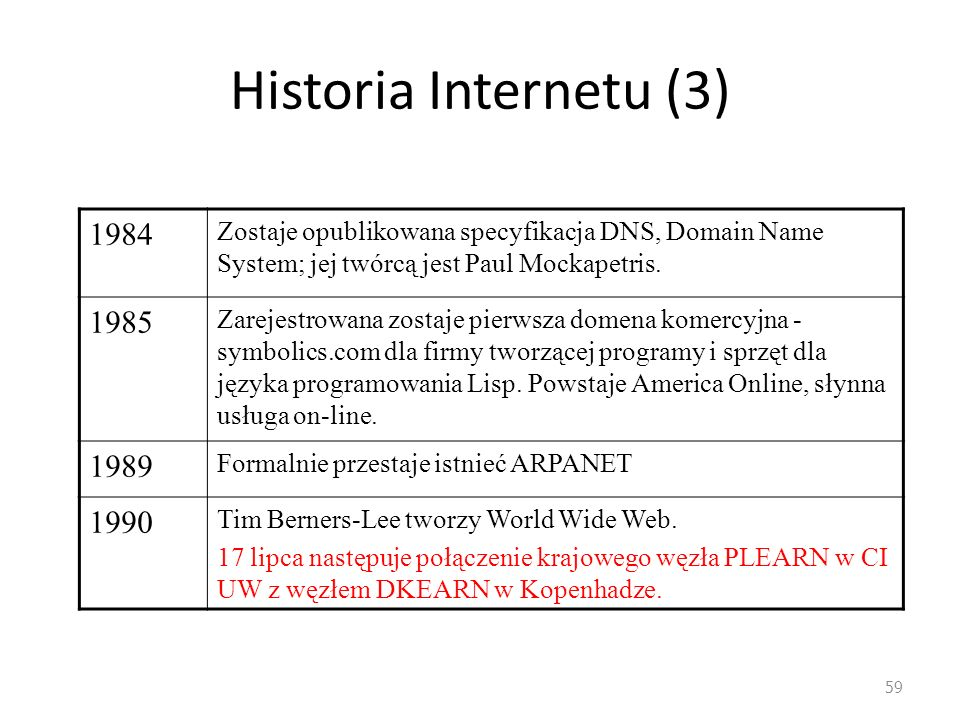 Historia Internetu (3) 1984. Zostaje opublikowana specyfikacja DNS, Domain Name System; jej twórcą jest Paul Mockapetris.