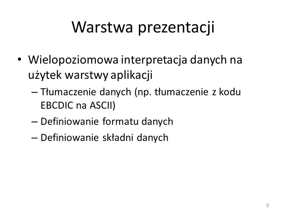 Warstwa prezentacji Wielopoziomowa interpretacja danych na użytek warstwy aplikacji. Tłumaczenie danych (np. tłumaczenie z kodu EBCDIC na ASCII)