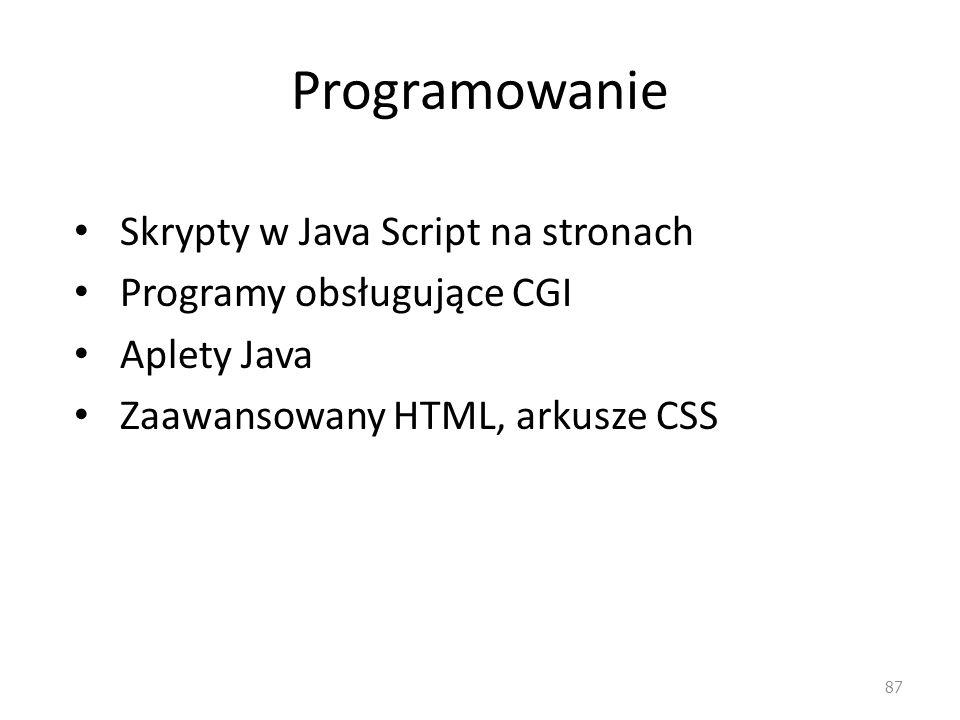 Programowanie Skrypty w Java Script na stronach