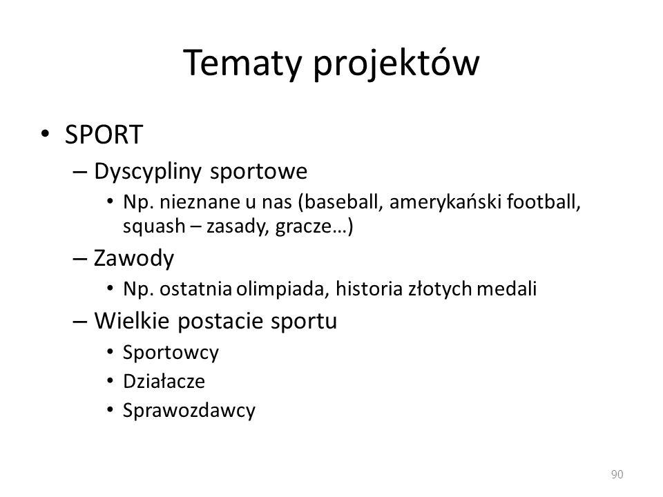 Tematy projektów SPORT Dyscypliny sportowe Zawody