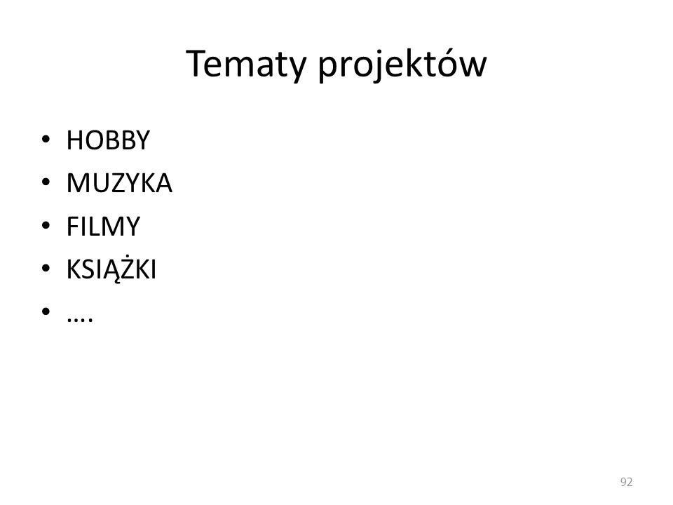 Tematy projektów HOBBY MUZYKA FILMY KSIĄŻKI ….