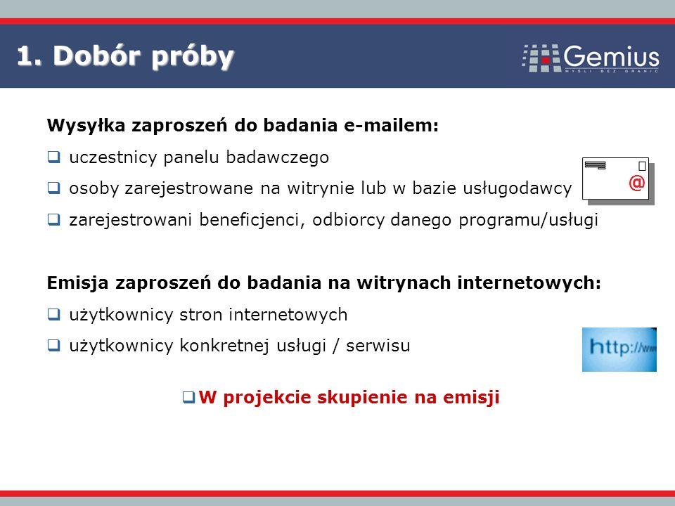 1. Dobór próby @ Wysyłka zaproszeń do badania e-mailem: