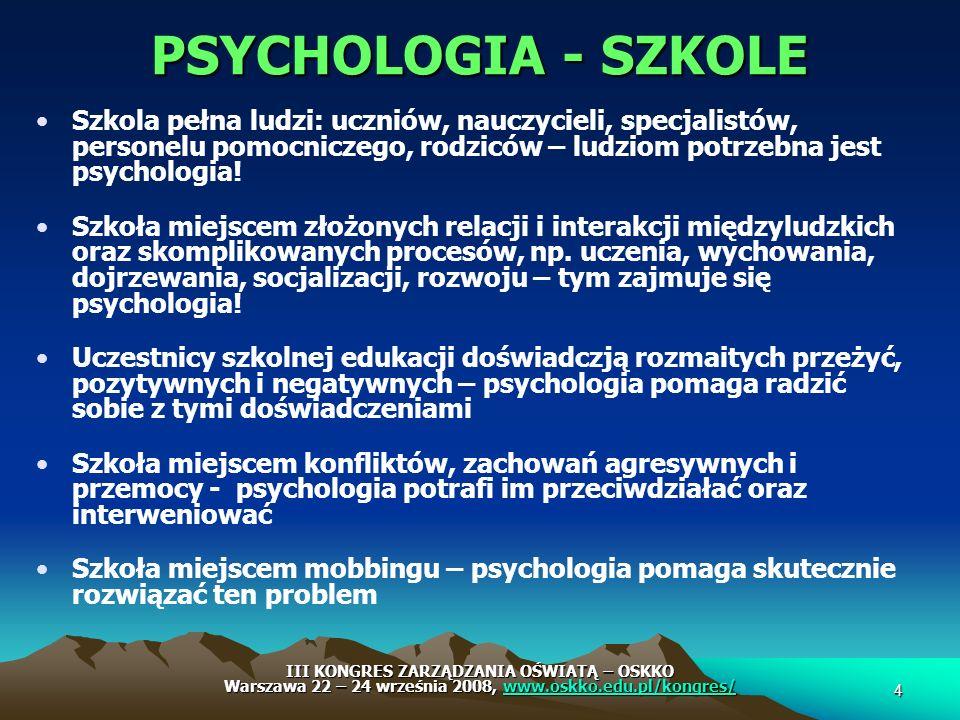 PSYCHOLOGIA - SZKOLE Szkola pełna ludzi: uczniów, nauczycieli, specjalistów, personelu pomocniczego, rodziców – ludziom potrzebna jest psychologia!