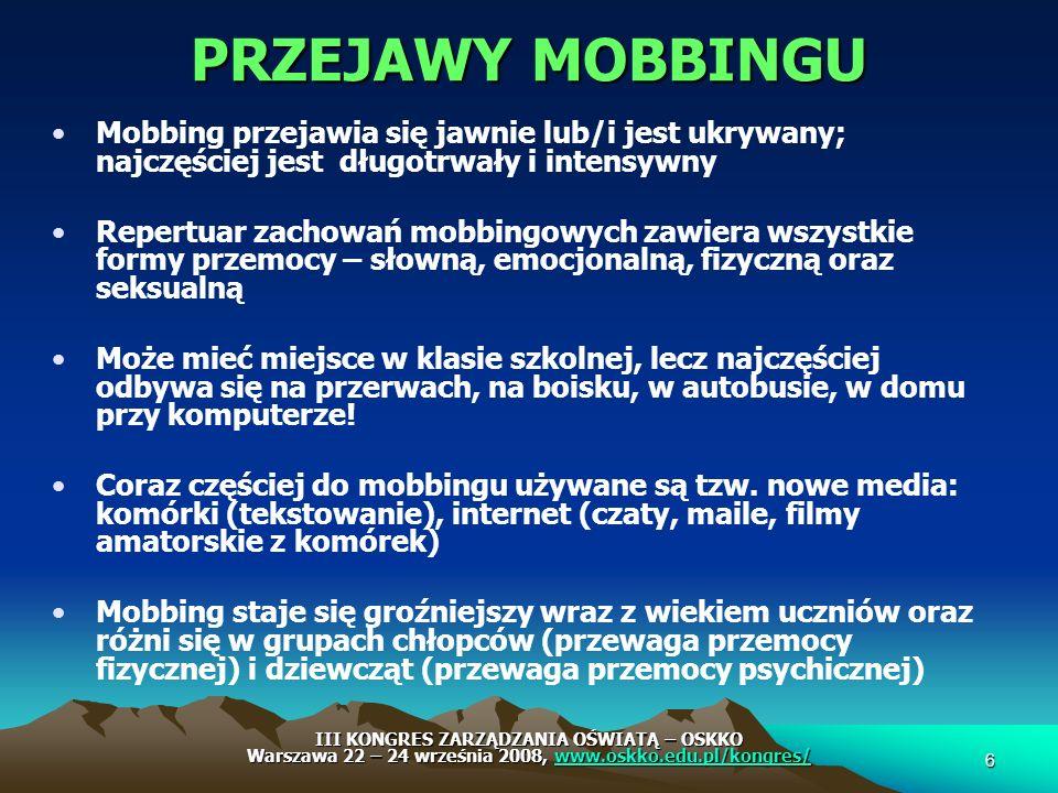 PRZEJAWY MOBBINGU Mobbing przejawia się jawnie lub/i jest ukrywany; najczęściej jest długotrwały i intensywny.