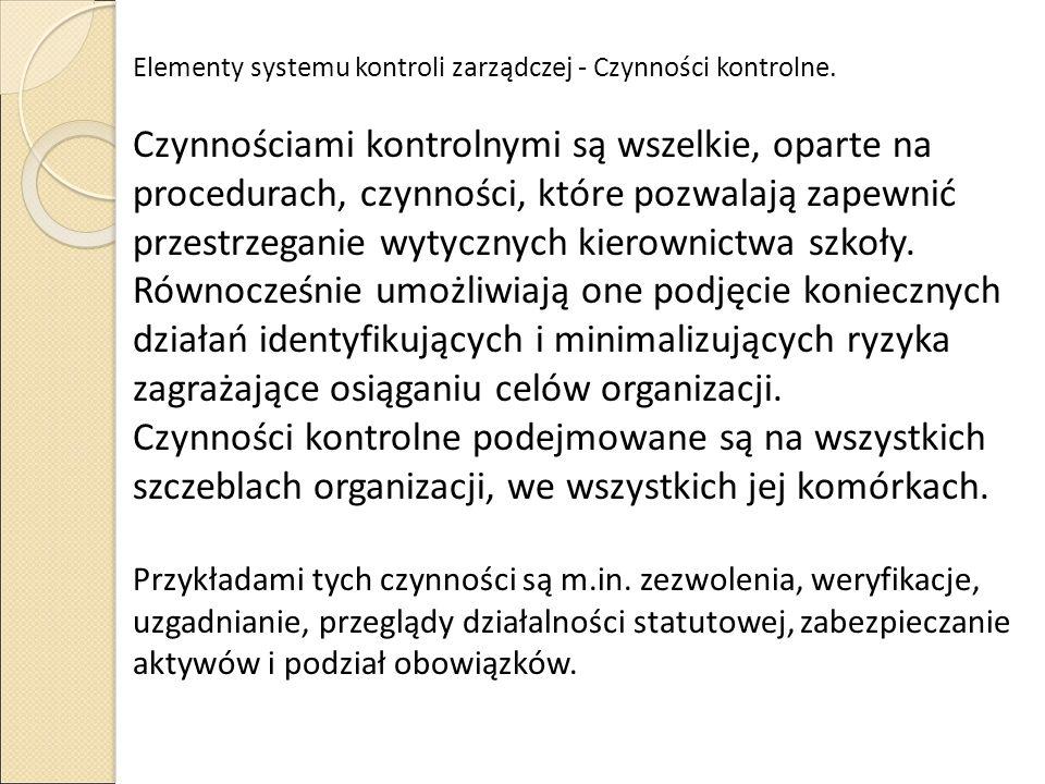 Elementy systemu kontroli zarządczej - Czynności kontrolne.