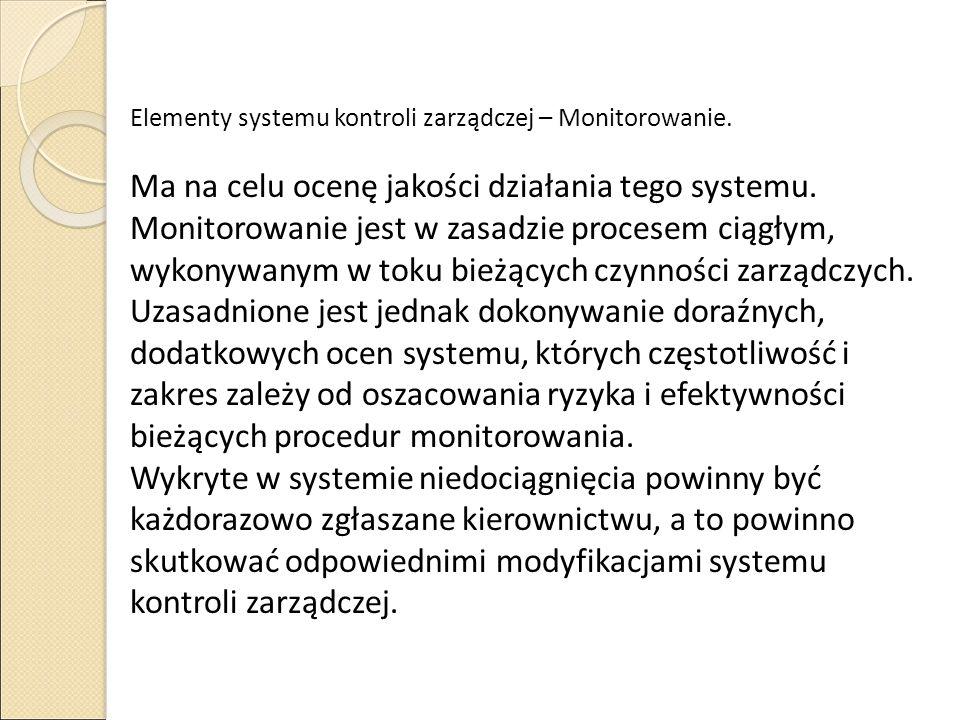 Elementy systemu kontroli zarządczej – Monitorowanie.