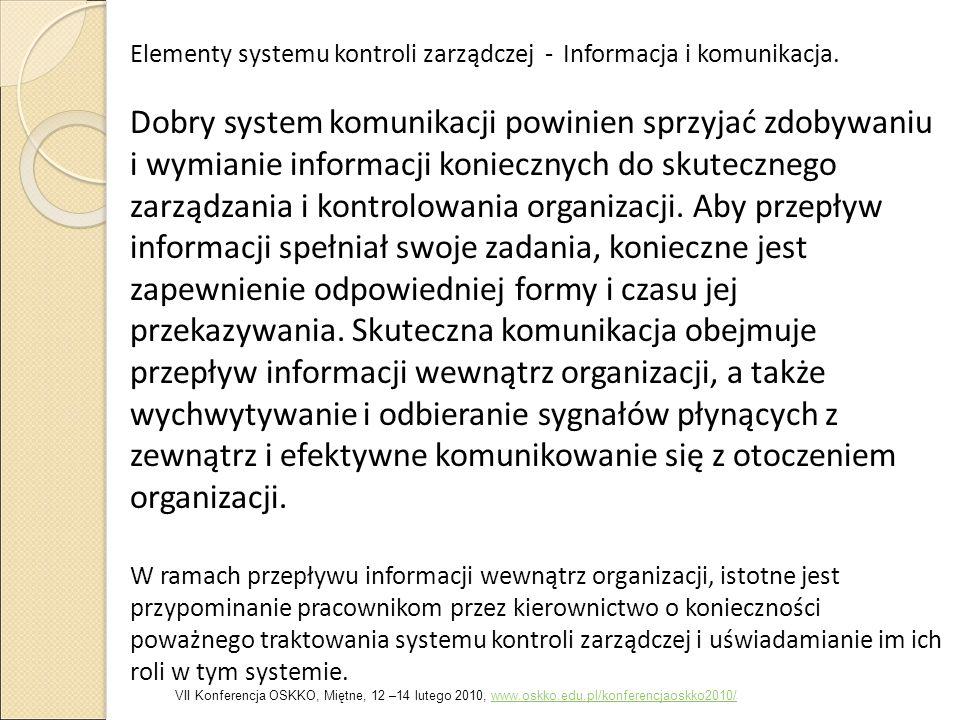Elementy systemu kontroli zarządczej - Informacja i komunikacja.