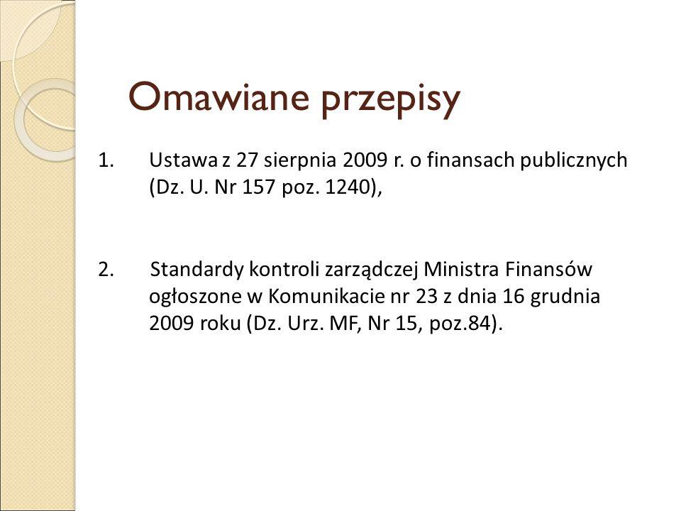 Omawiane przepisy Ustawa z 27 sierpnia 2009 r. o finansach publicznych (Dz. U. Nr 157 poz. 1240),