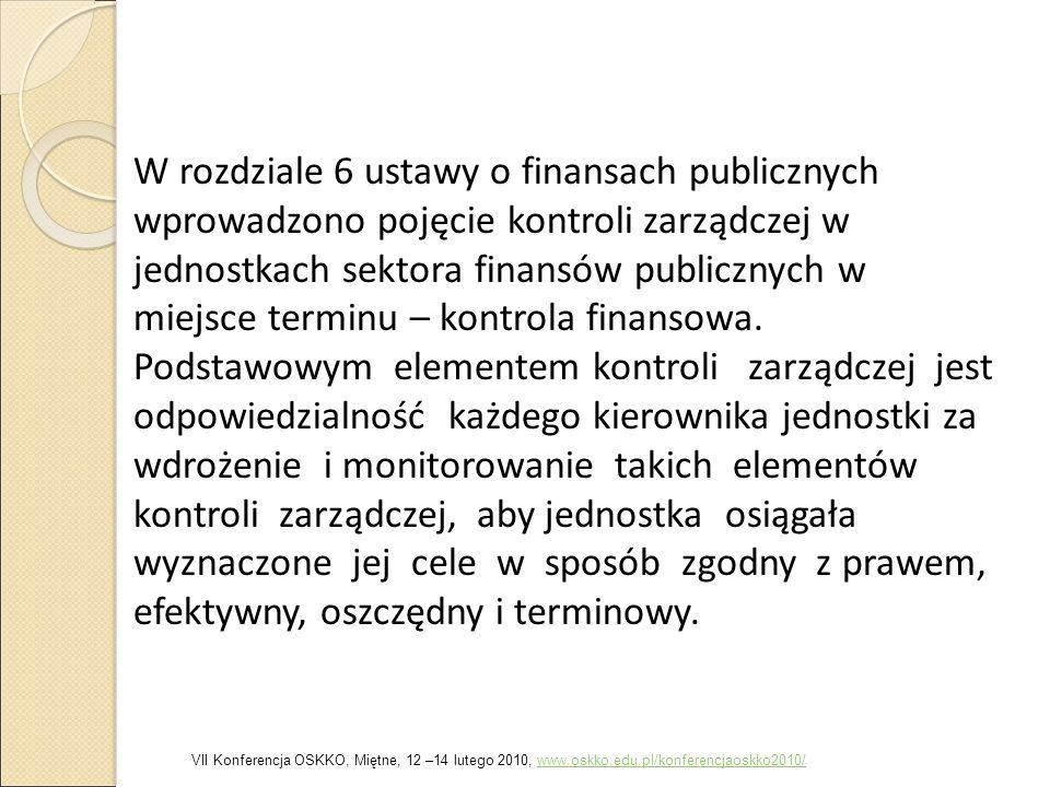 W rozdziale 6 ustawy o finansach publicznych wprowadzono pojęcie kontroli zarządczej w jednostkach sektora finansów publicznych w miejsce terminu – kontrola finansowa. Podstawowym elementem kontroli zarządczej jest odpowiedzialność każdego kierownika jednostki za wdrożenie i monitorowanie takich elementów kontroli zarządczej, aby jednostka osiągała wyznaczone jej cele w sposób zgodny z prawem, efektywny, oszczędny i terminowy.